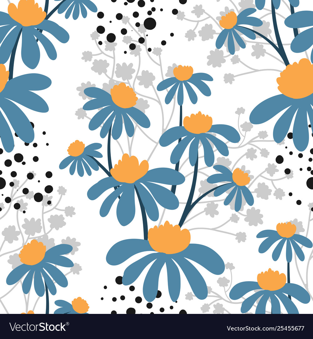 Floral seamless pattern with cute flowers