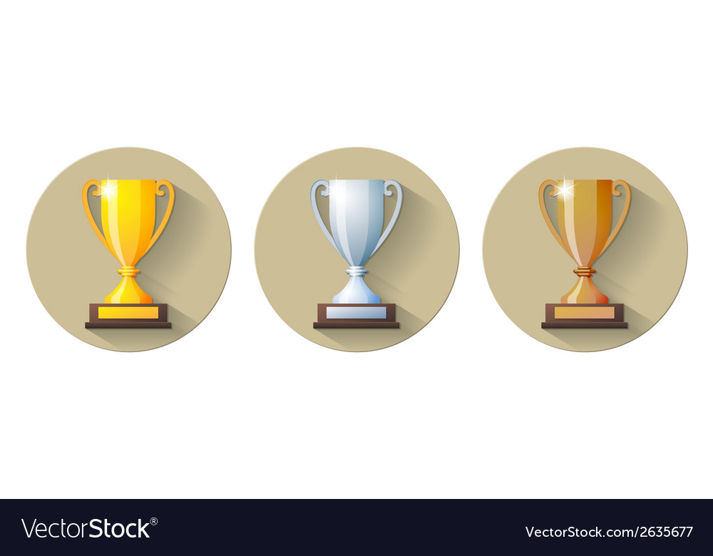 Gold silver and bronze winners cup Flat Icon