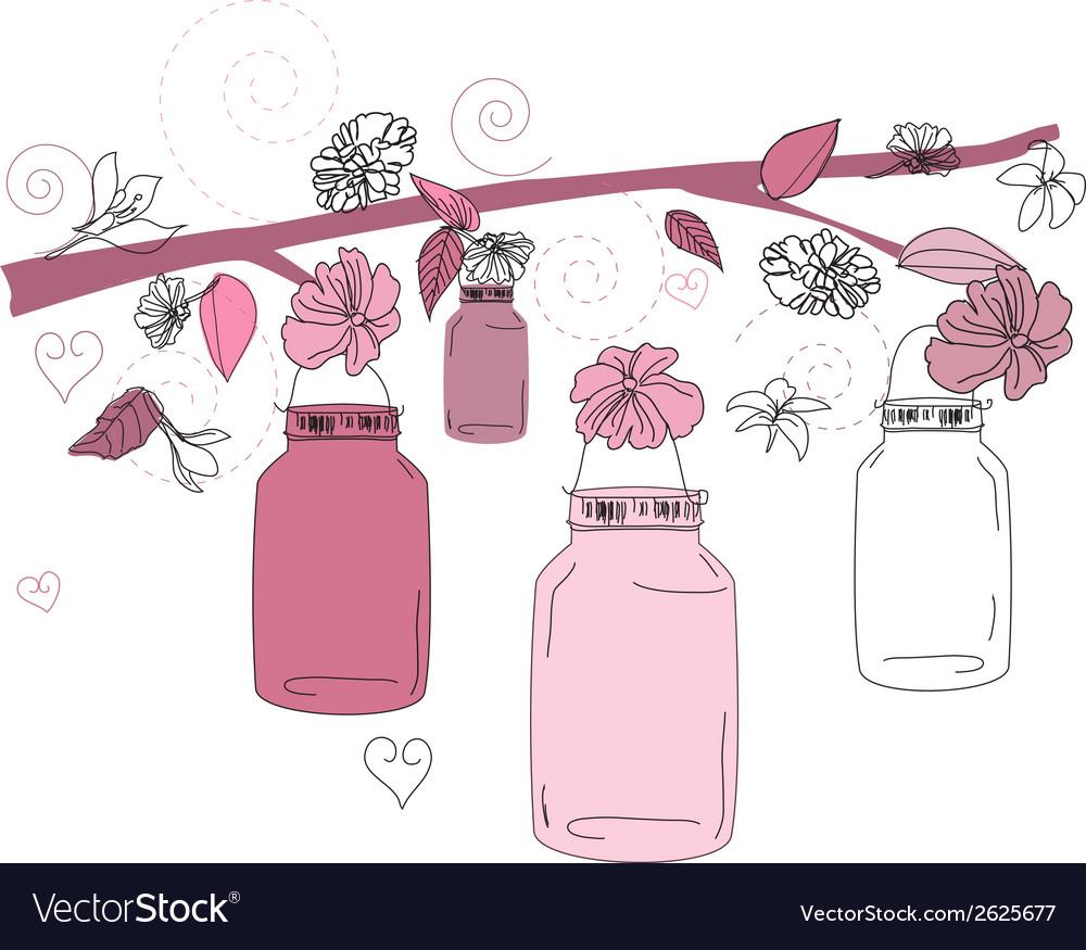 Mason Jar flower scene