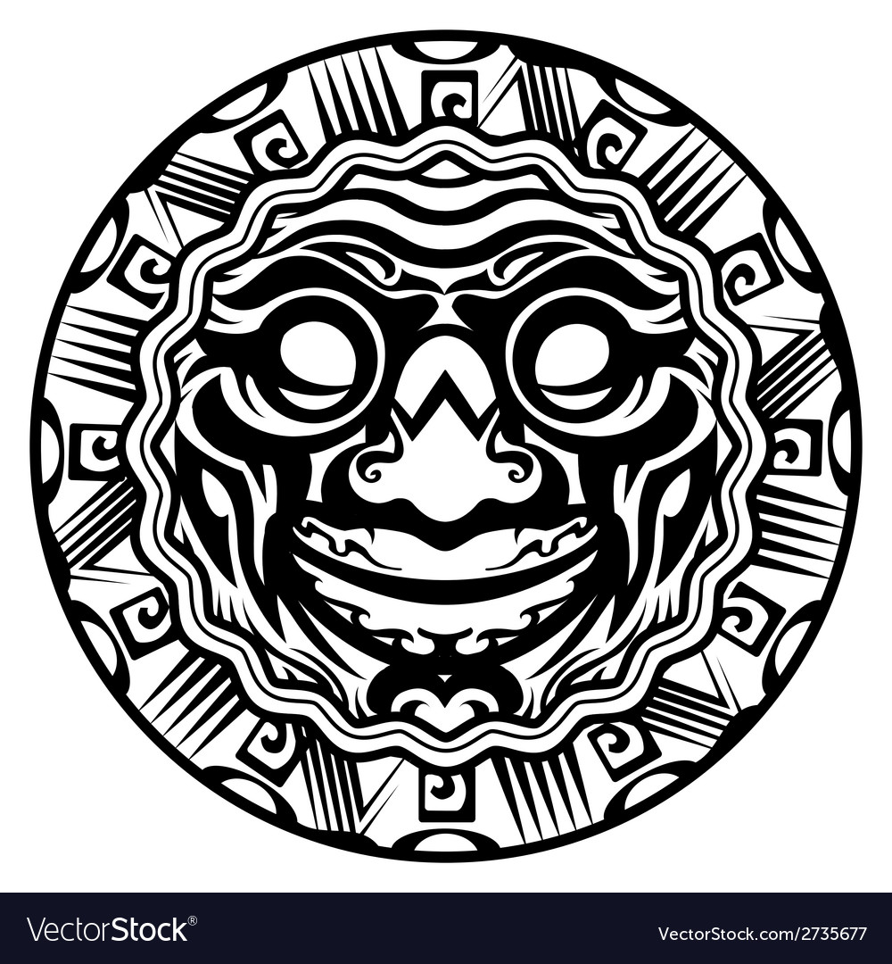 Round Smiling Face Polynesian Tattoo
