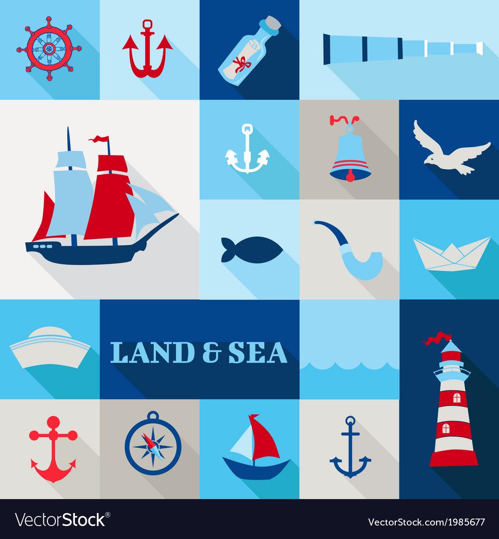 Set of Nautical Vintage Elements