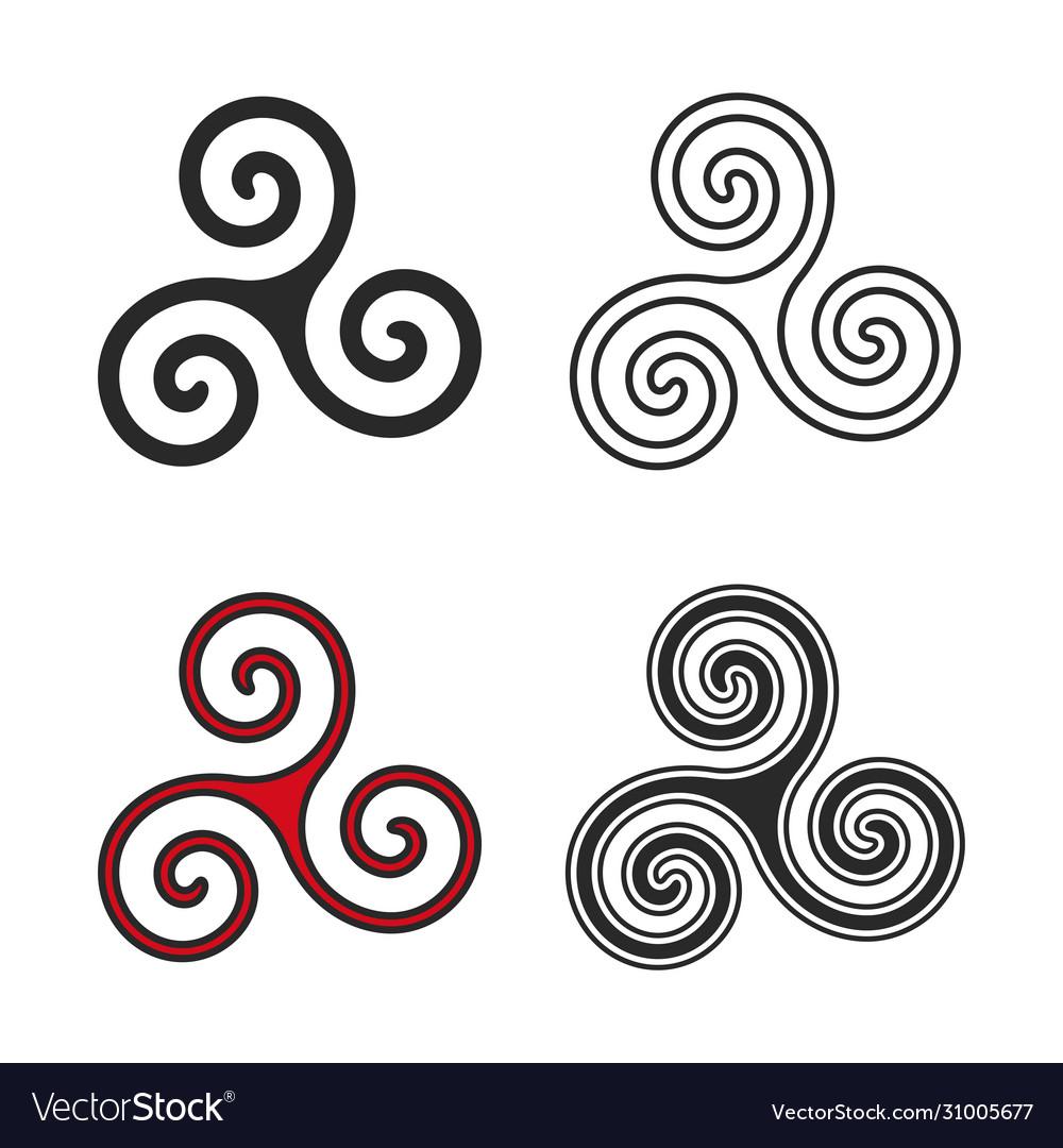 Set triskelion symbol flat and line style