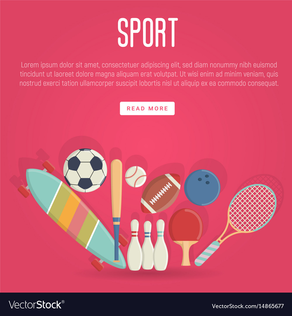 Sport equipment concept in flat style