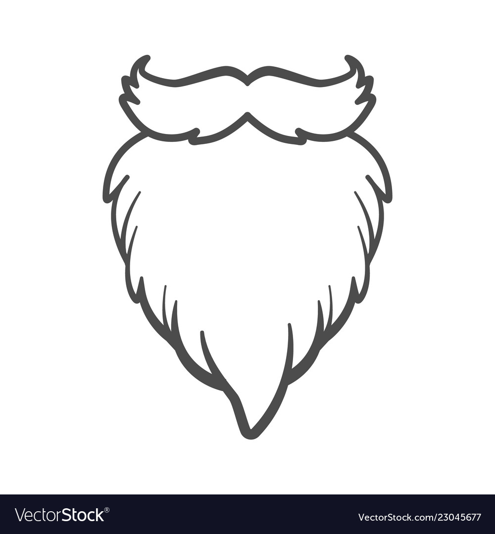 White furry santa claus beard isolated