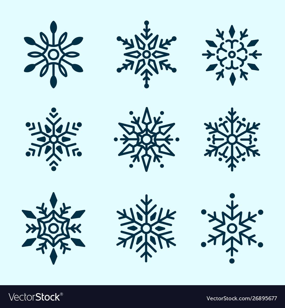 Winter set white snowflakes isolated