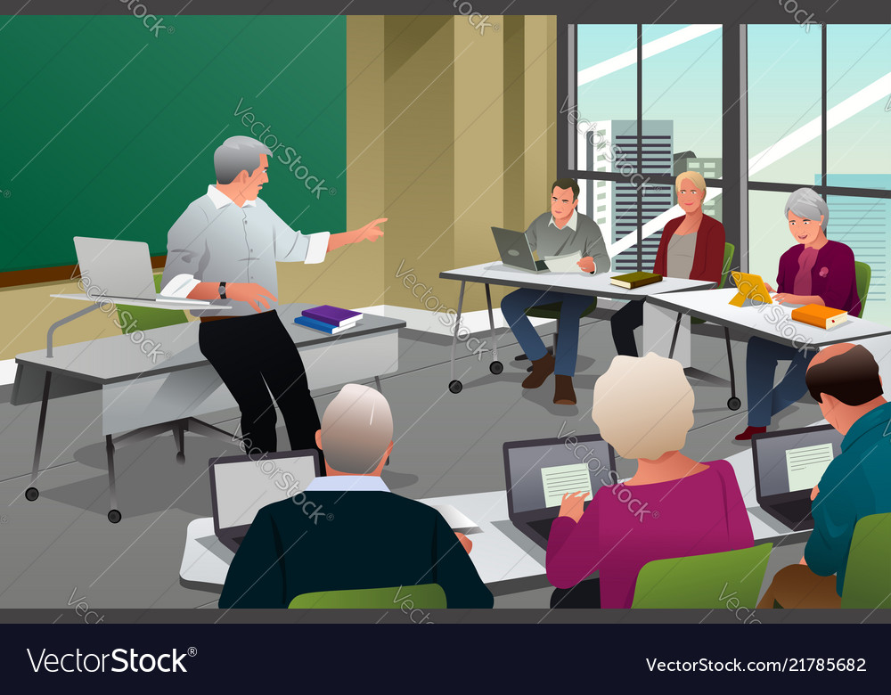 Adults in a college classroom