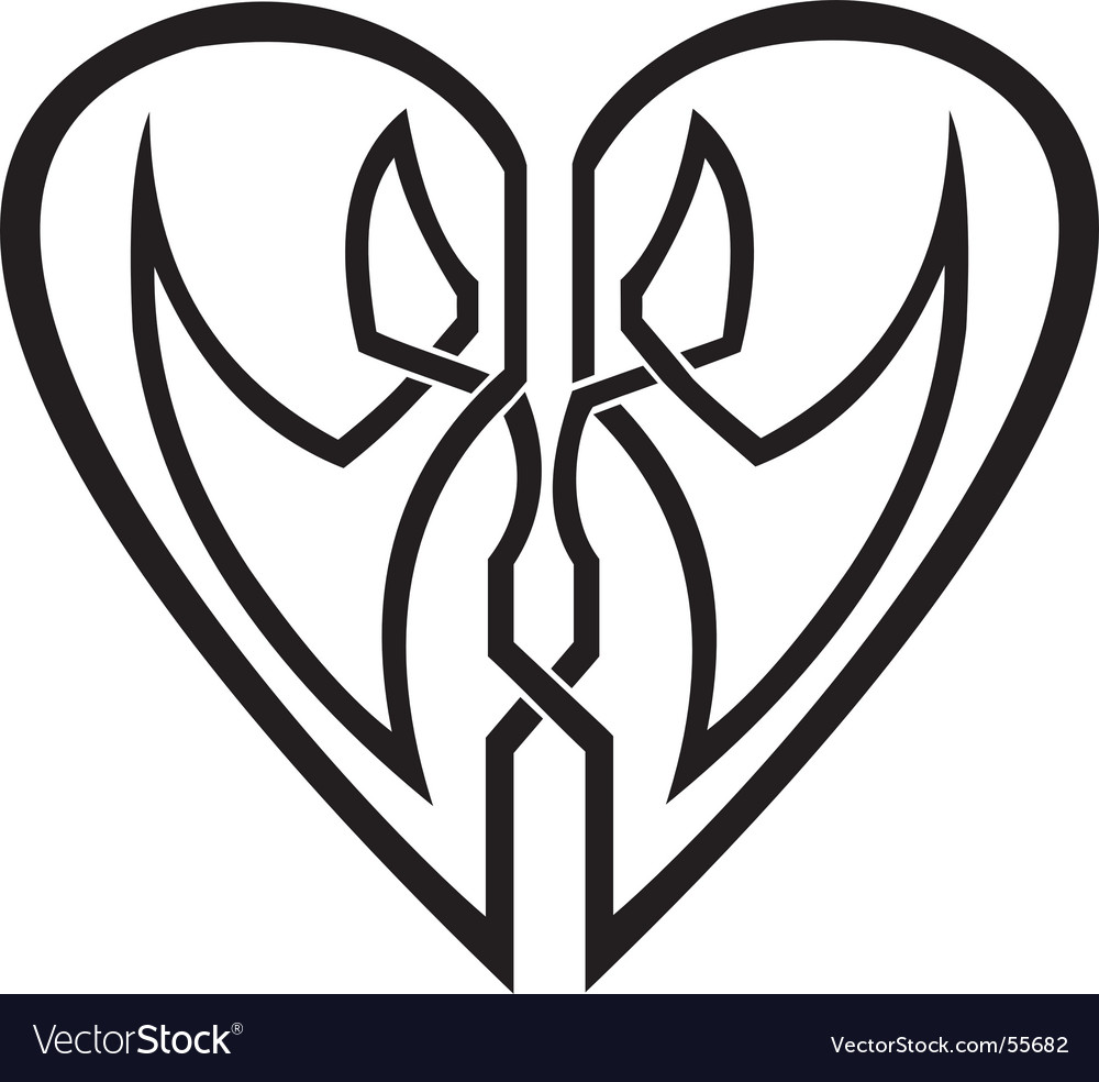 Celtic heart tribal tattoo vector image