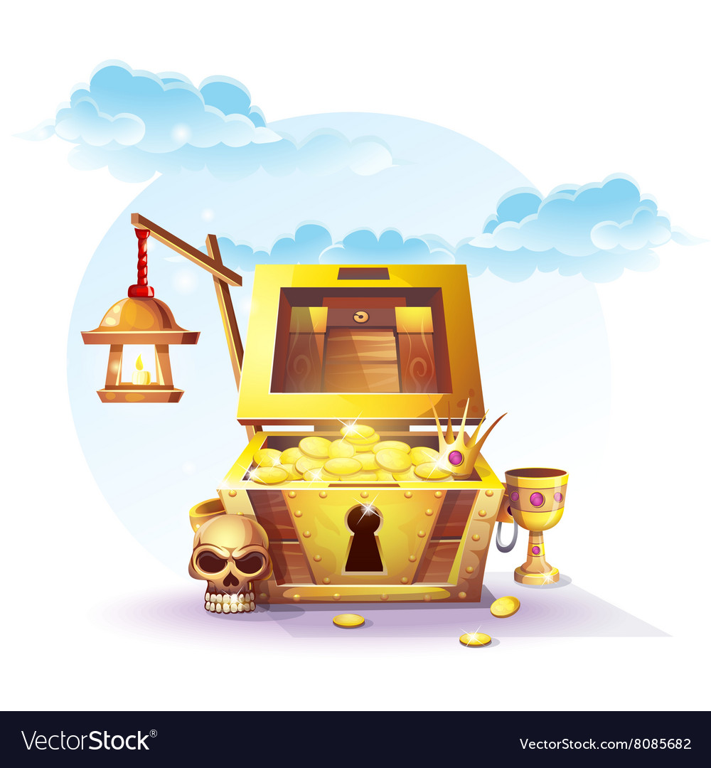 Chest gold and a lantern