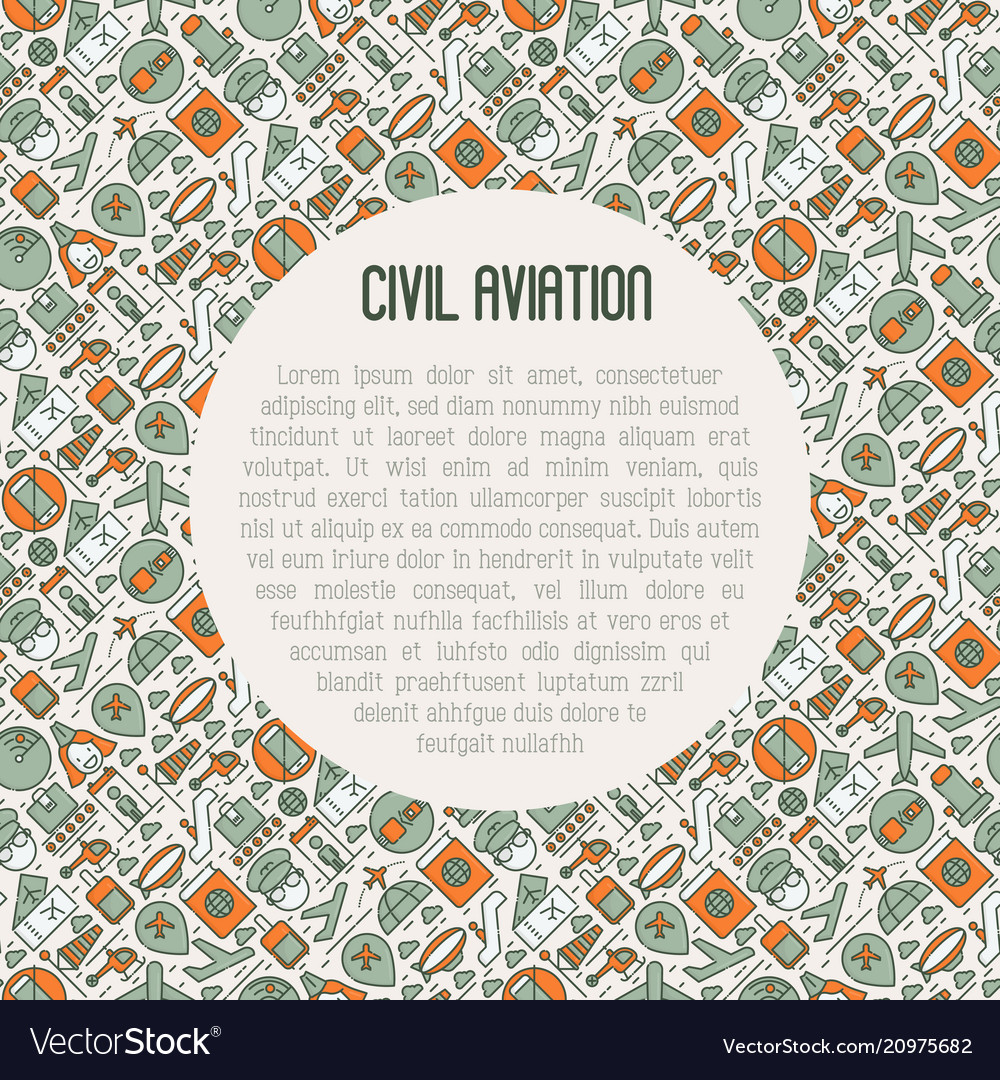 Civil aviation concept contains thin line icons