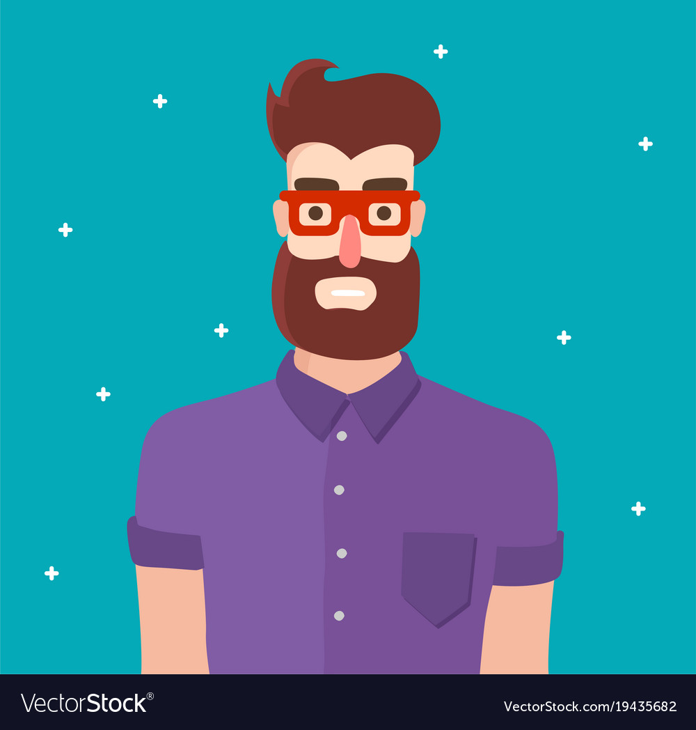 Cool hipster man character with beard and