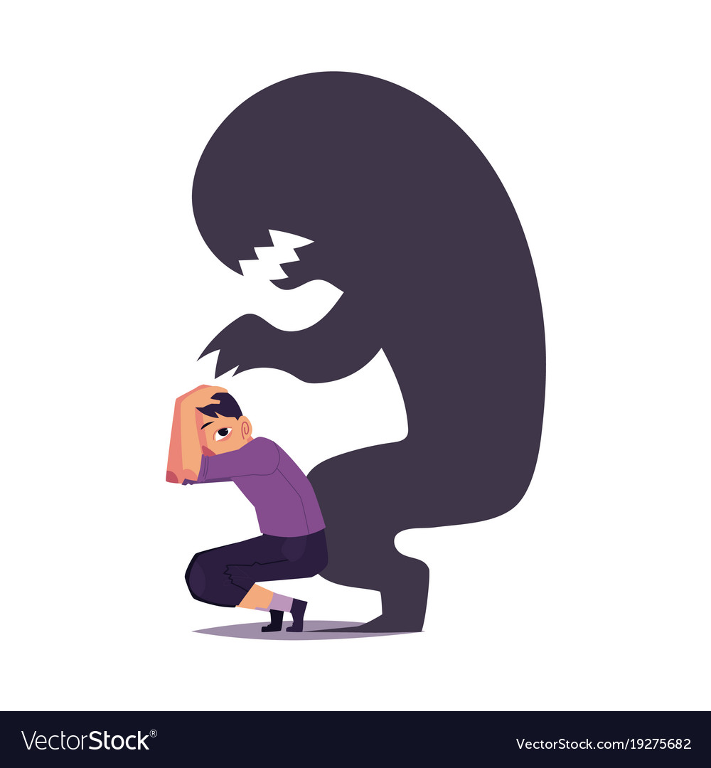 fear phobia as monster shadow hanging over scared vector image