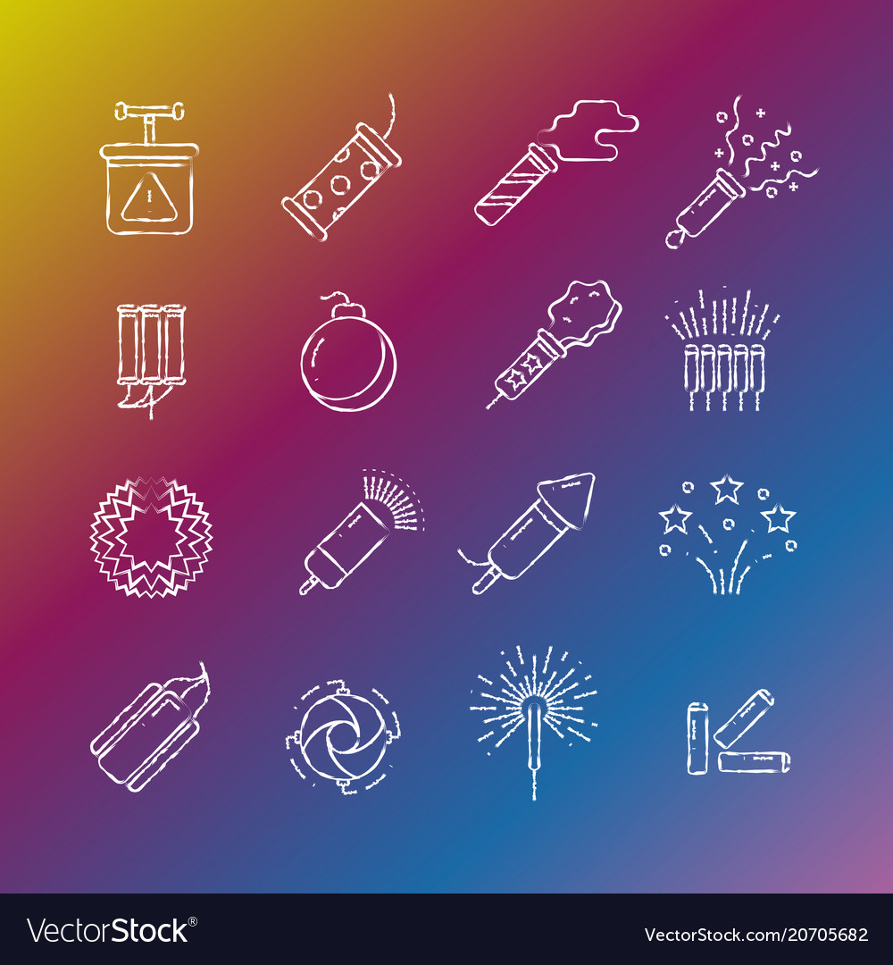 Fireworks pyrotechnic icons