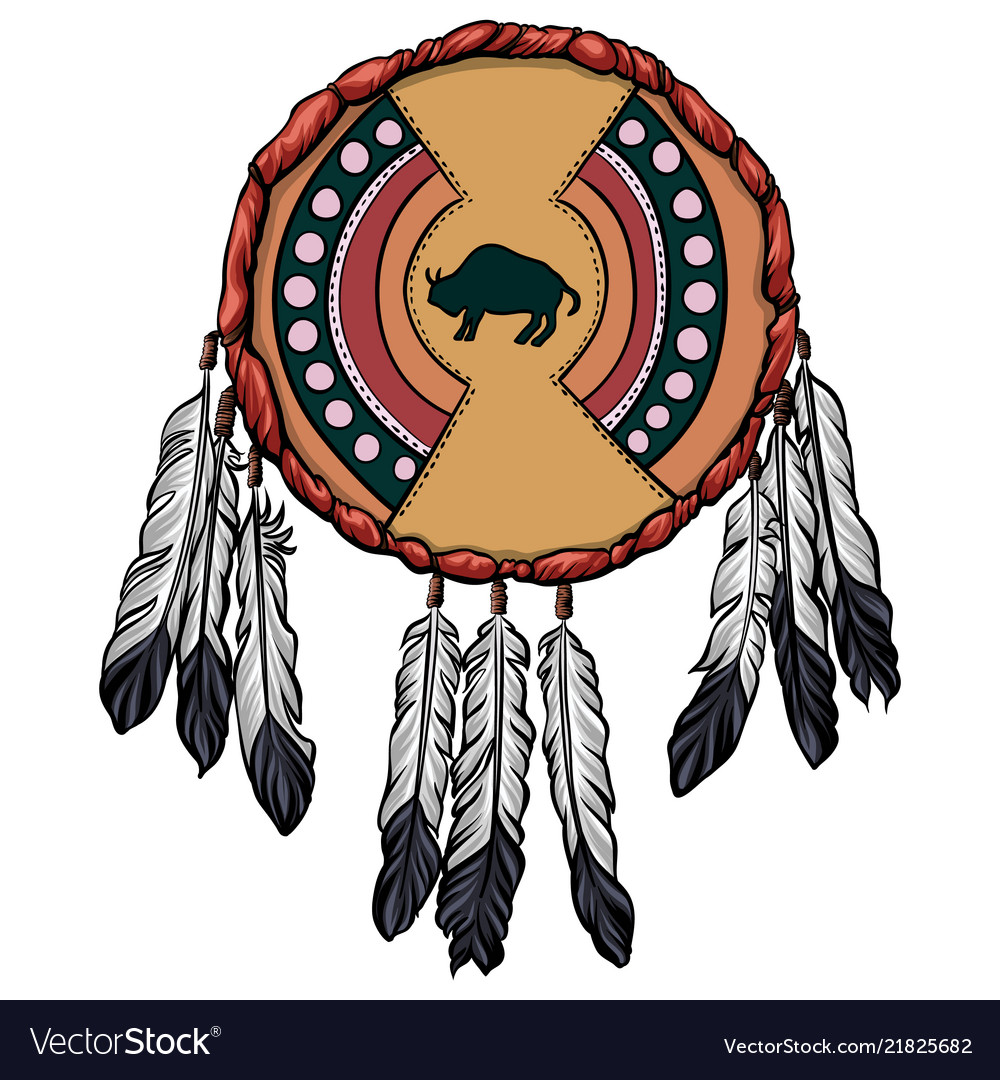 Indian Hide Shield With The Bison Symbol Vector Image