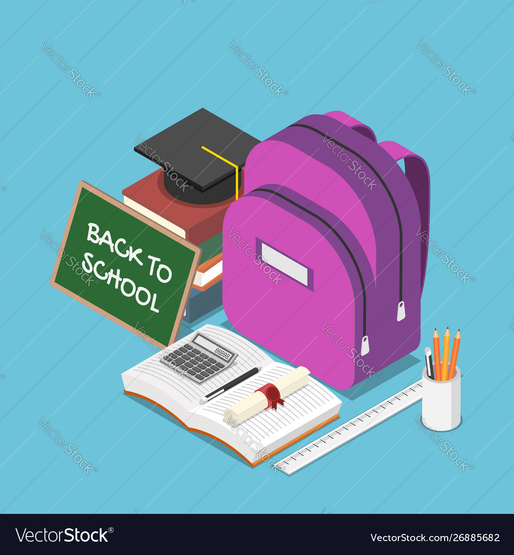 Isometric blackboard with text back to school and