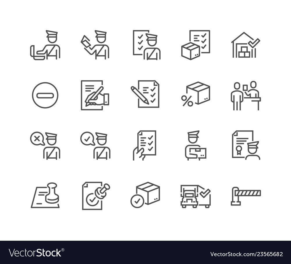 Line customs icons