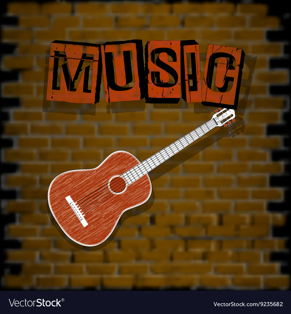 Musical background with brick wall