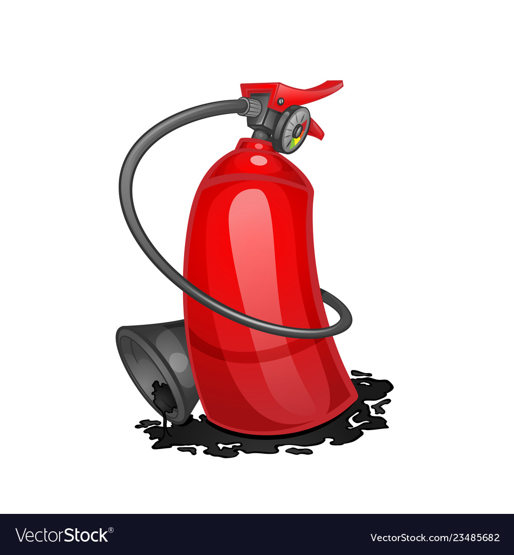 Red cartoon fire extinguisher isolated on white