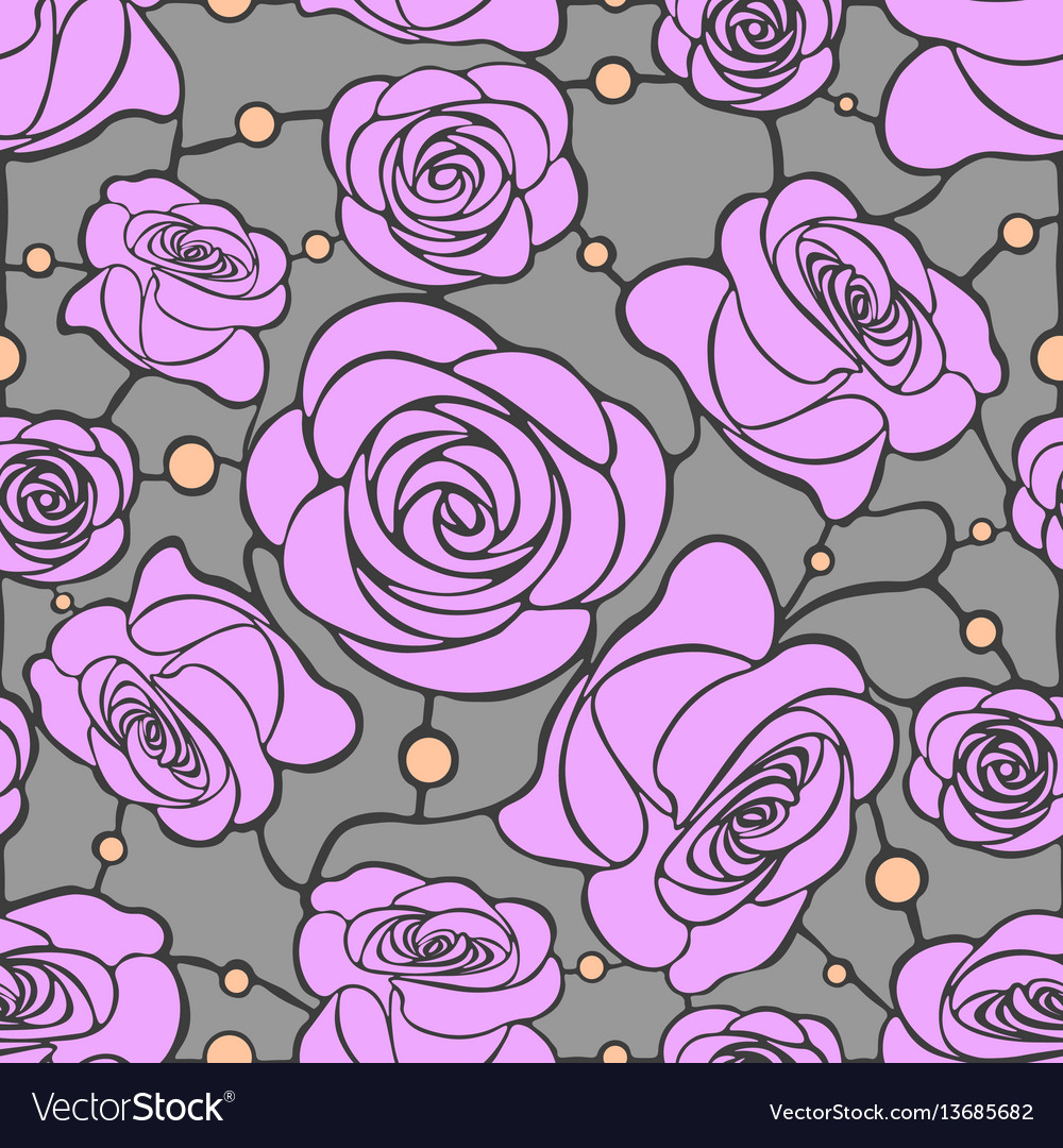 Seamless floral mosaic pattern with pink roses on