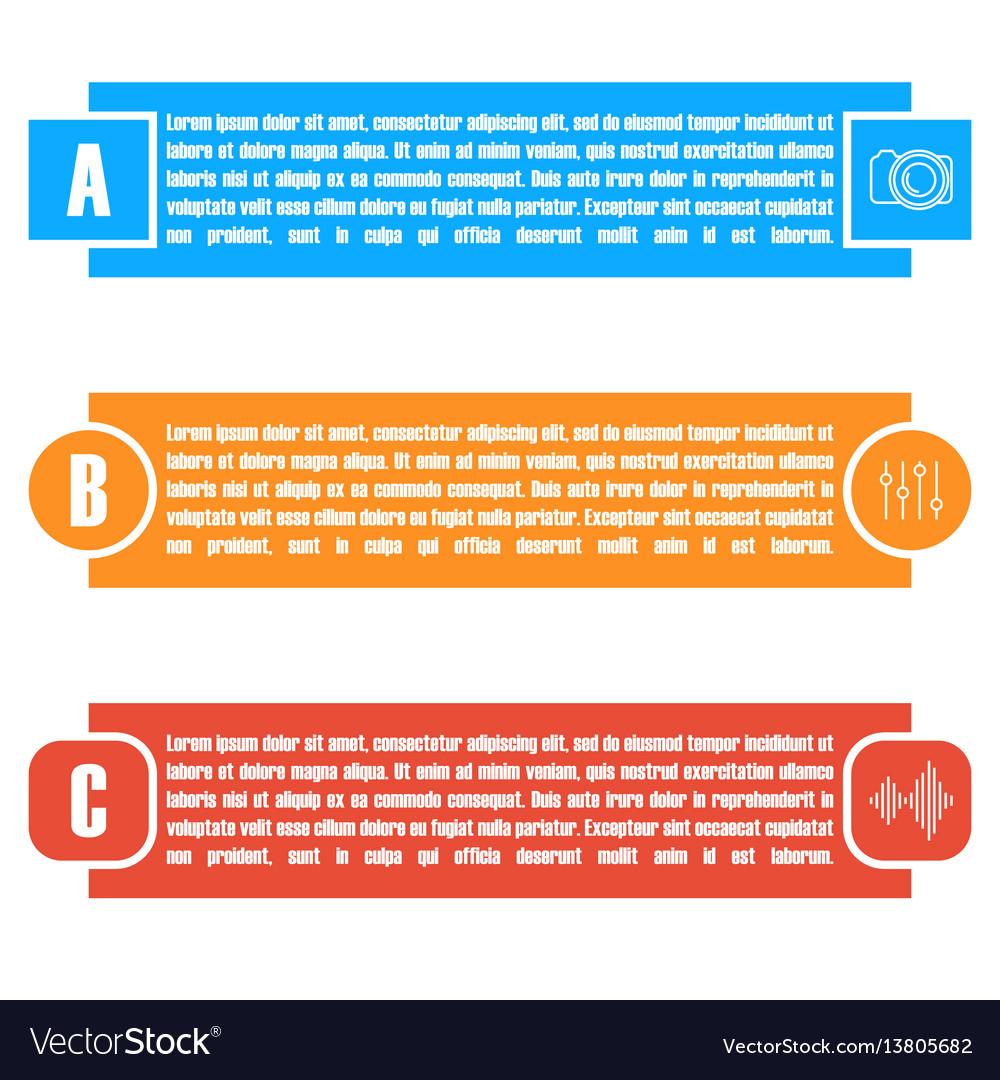 Set of bright rectangular elements infographic