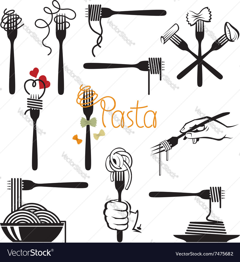 Set of pasta elements vector image