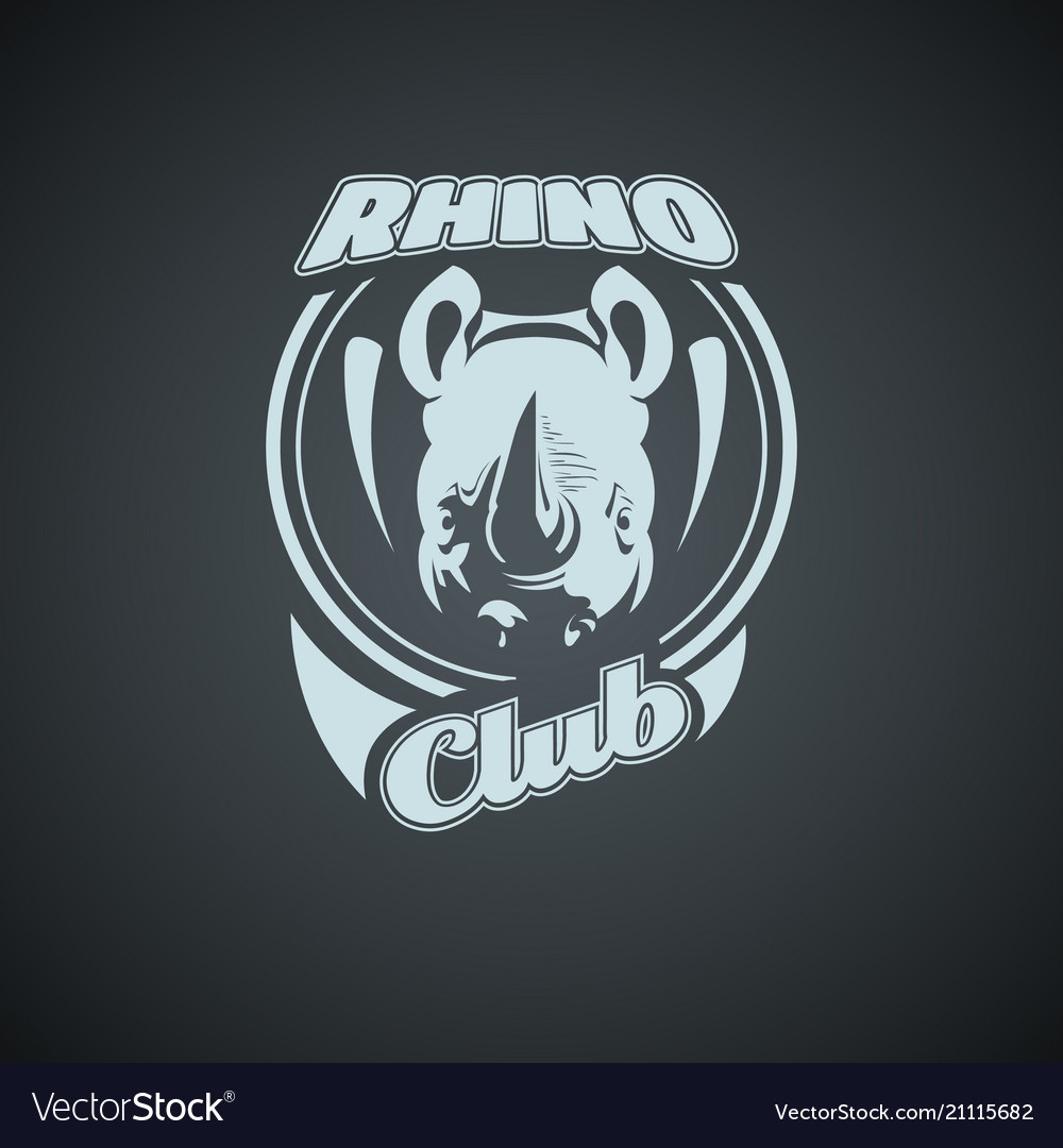 Vintage retro logo with rhino