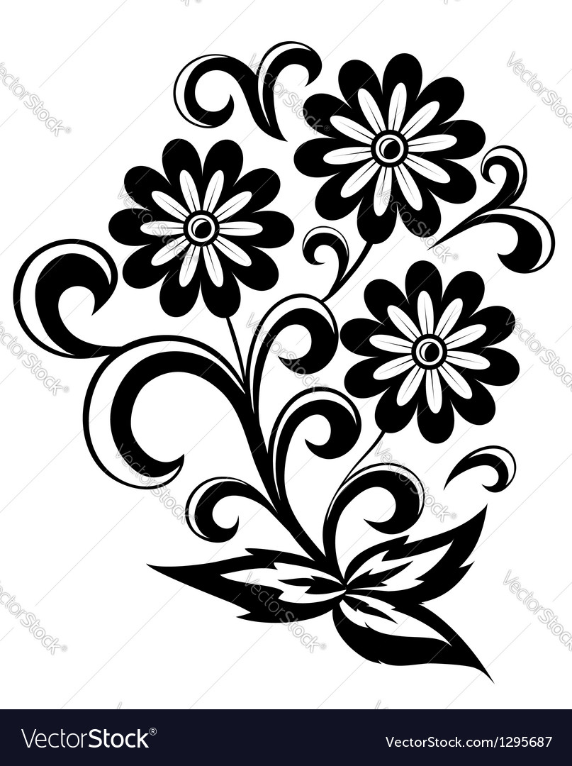 Black and white abstract flower with leaves