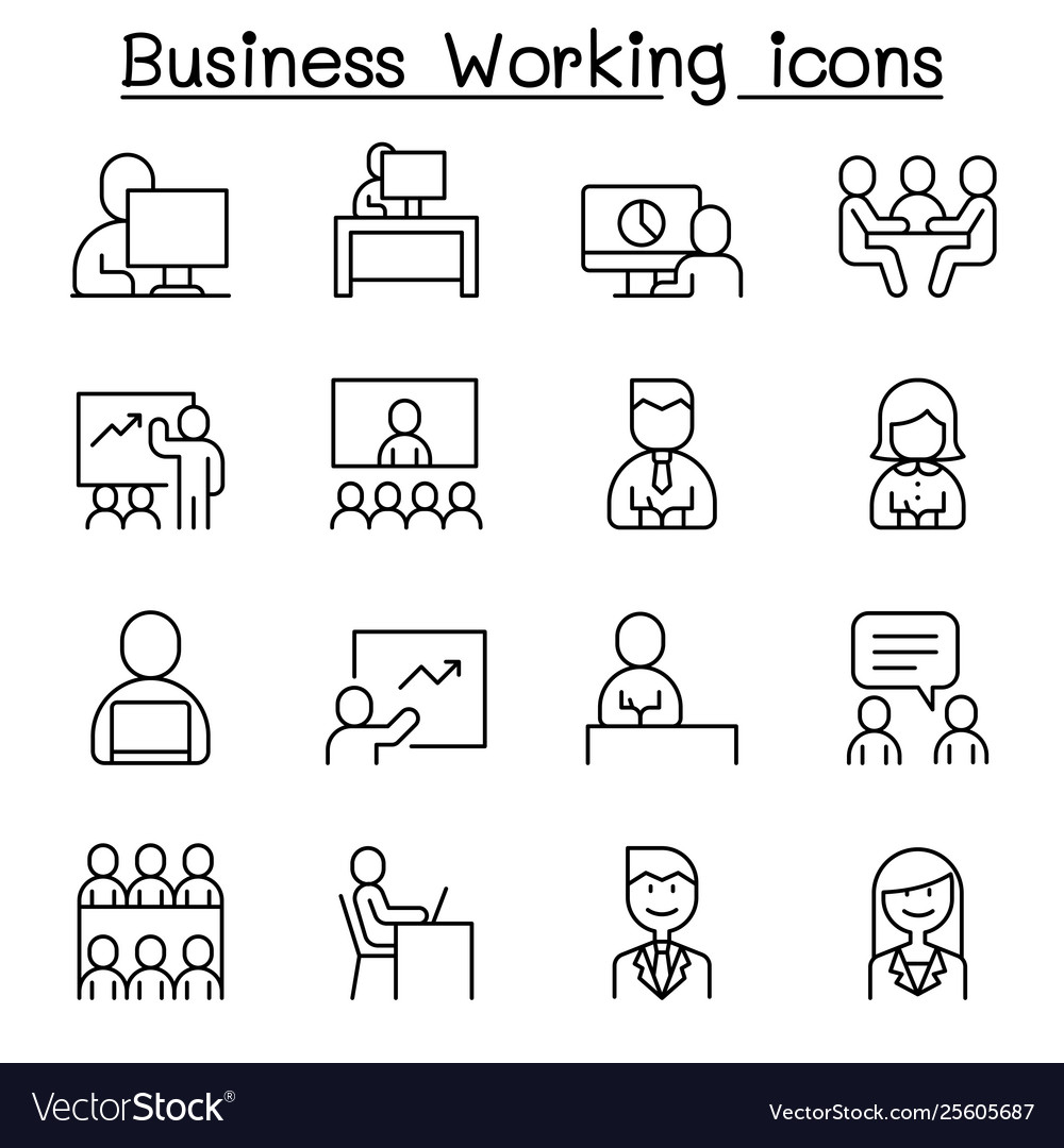 Business working icon set in thin line style