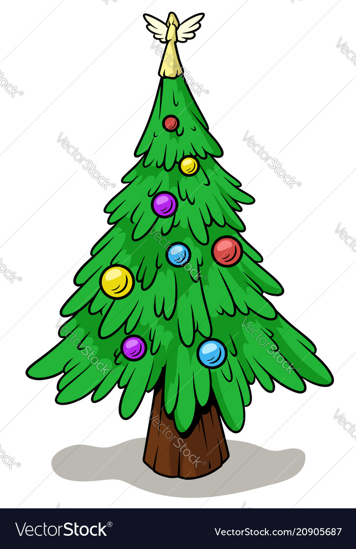 Cartoon christmas tree with angel on top