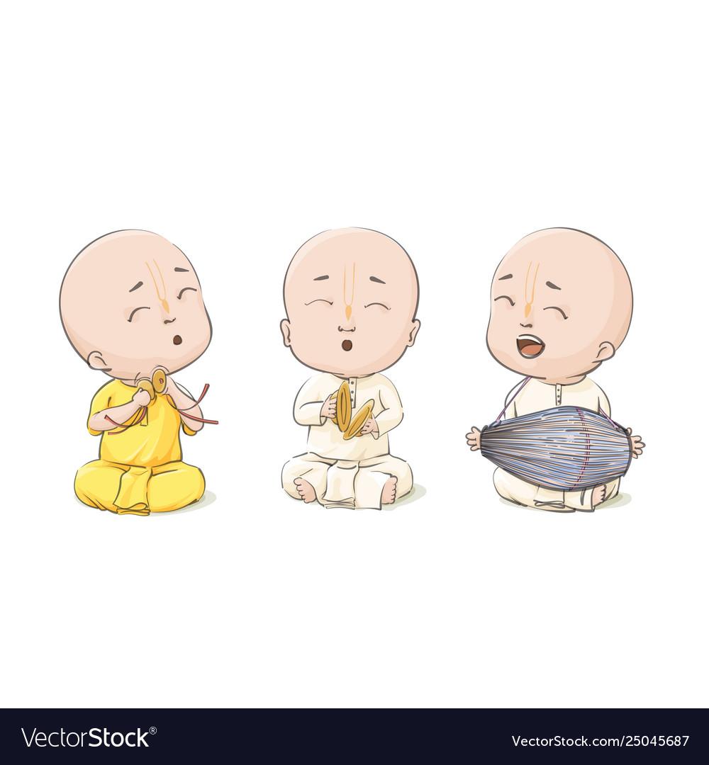 Cartoon vaisnava devotees
