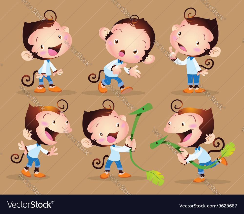Cute monkey boy character vector image