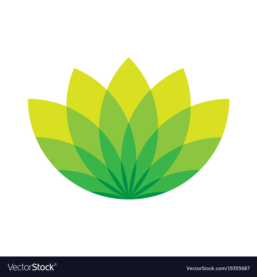 Wellness icon  Green lotus icon - wellness beauty and spa theme Vector Image
