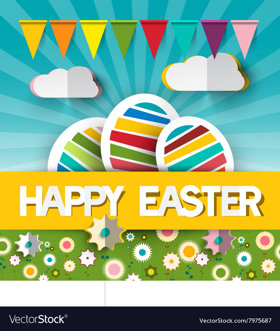 Happy Easter with Paper Cut Title - Colorful