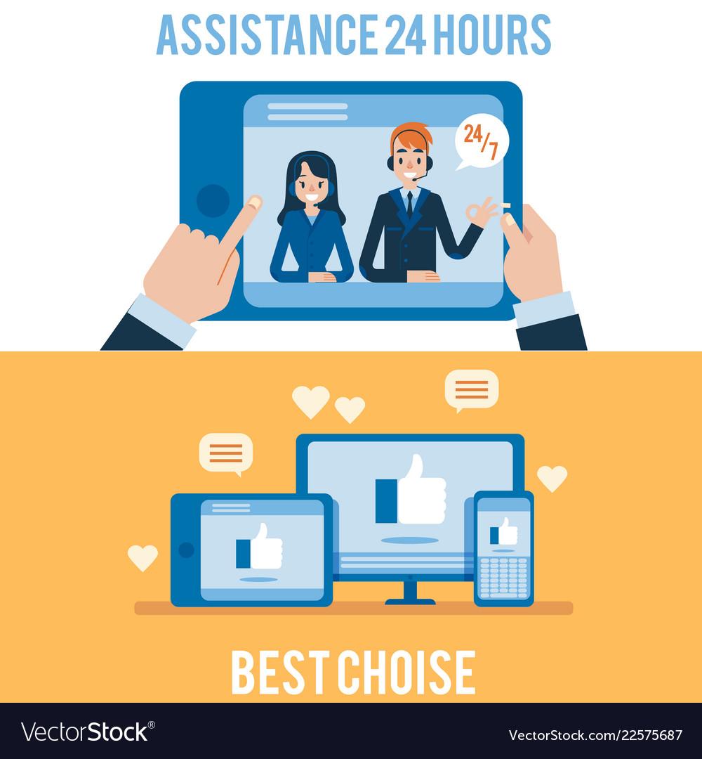 Hotline support and online assistants set