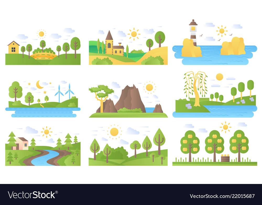 Mini landscapes icons set ecology nature