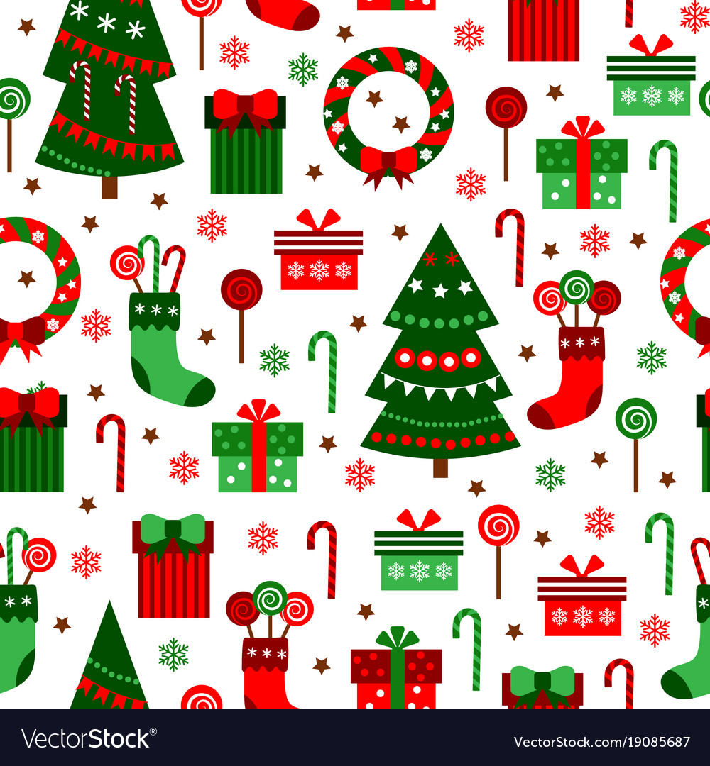 New year green tile pattern merry christmas flat