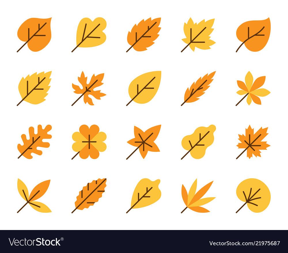 Organic leaf simple flat color icons set
