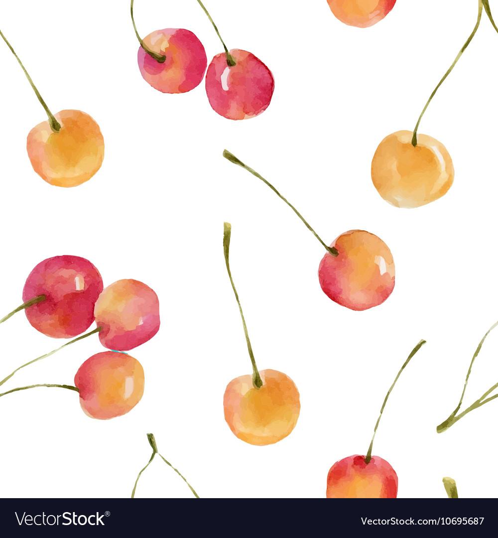 Watercolor cherries seamless pattern vector image