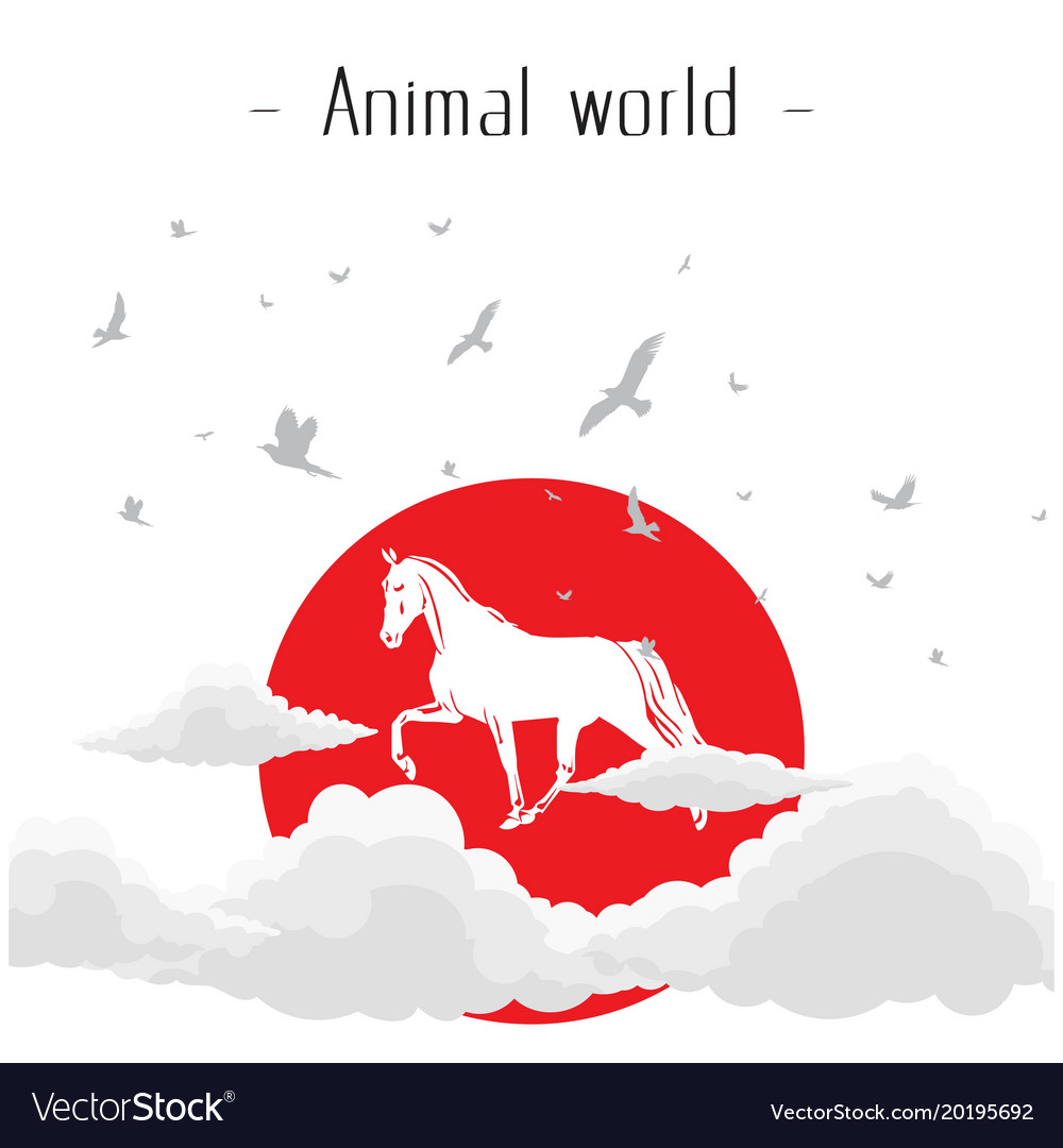 Animal world horse sun clound bird background vect vector image