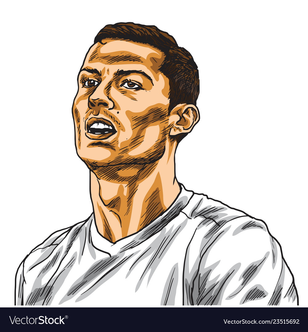 Cristiano ronaldo cartoon portrait drawing vector image