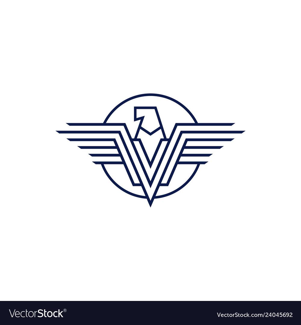 Falcon eagle logo icon line outline