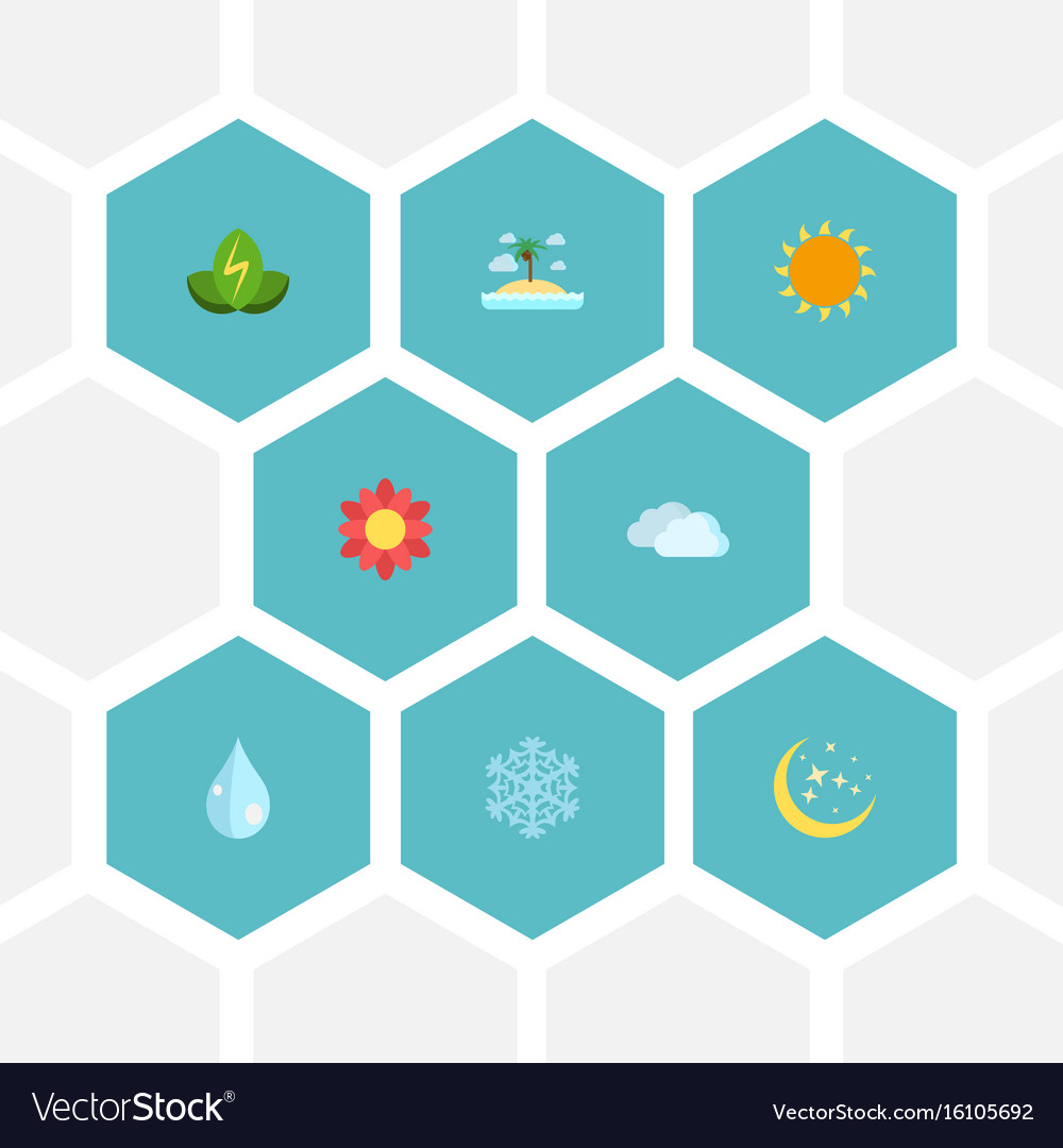 Flat icons sky sunshine water and other vector image