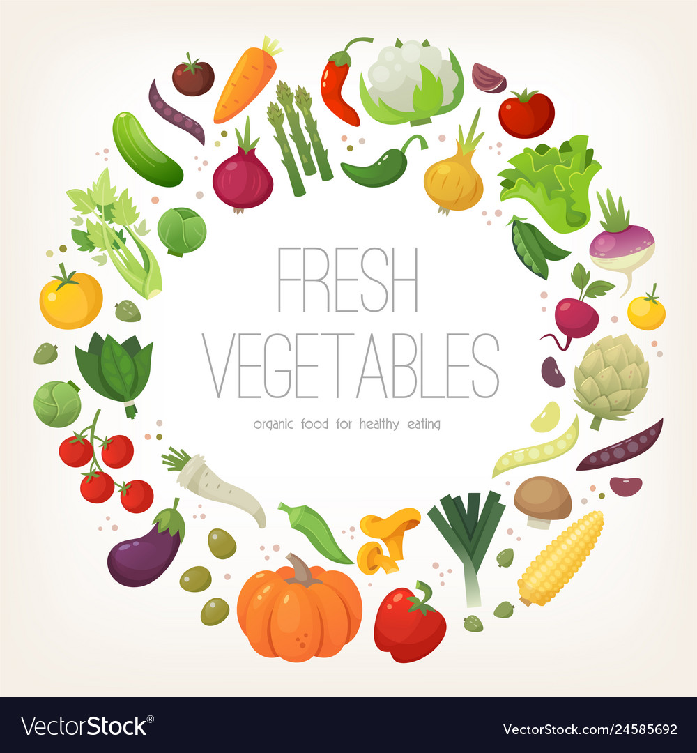 Fresh colorful vegetables arranged in circle