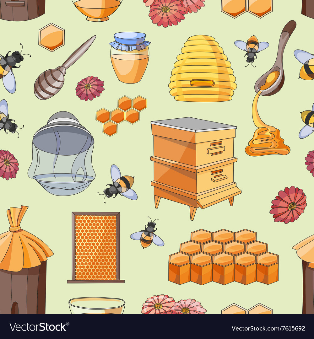 Honey pattern Design with apiary sketch elements