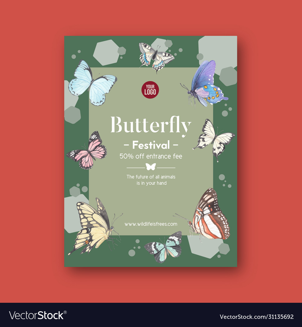 Insect and bird poster design with colorful