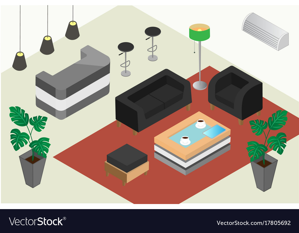 Isometric design of a reception office or hotel