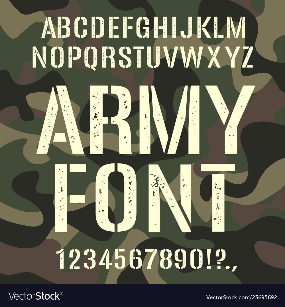 Military and army font camouflage rough pattern