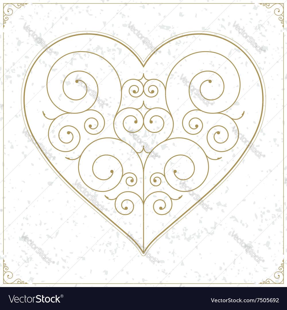 Retro heart luxury logo sign or symbol vector image