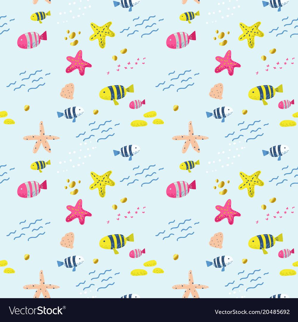 Seamless pattern with fish childish background
