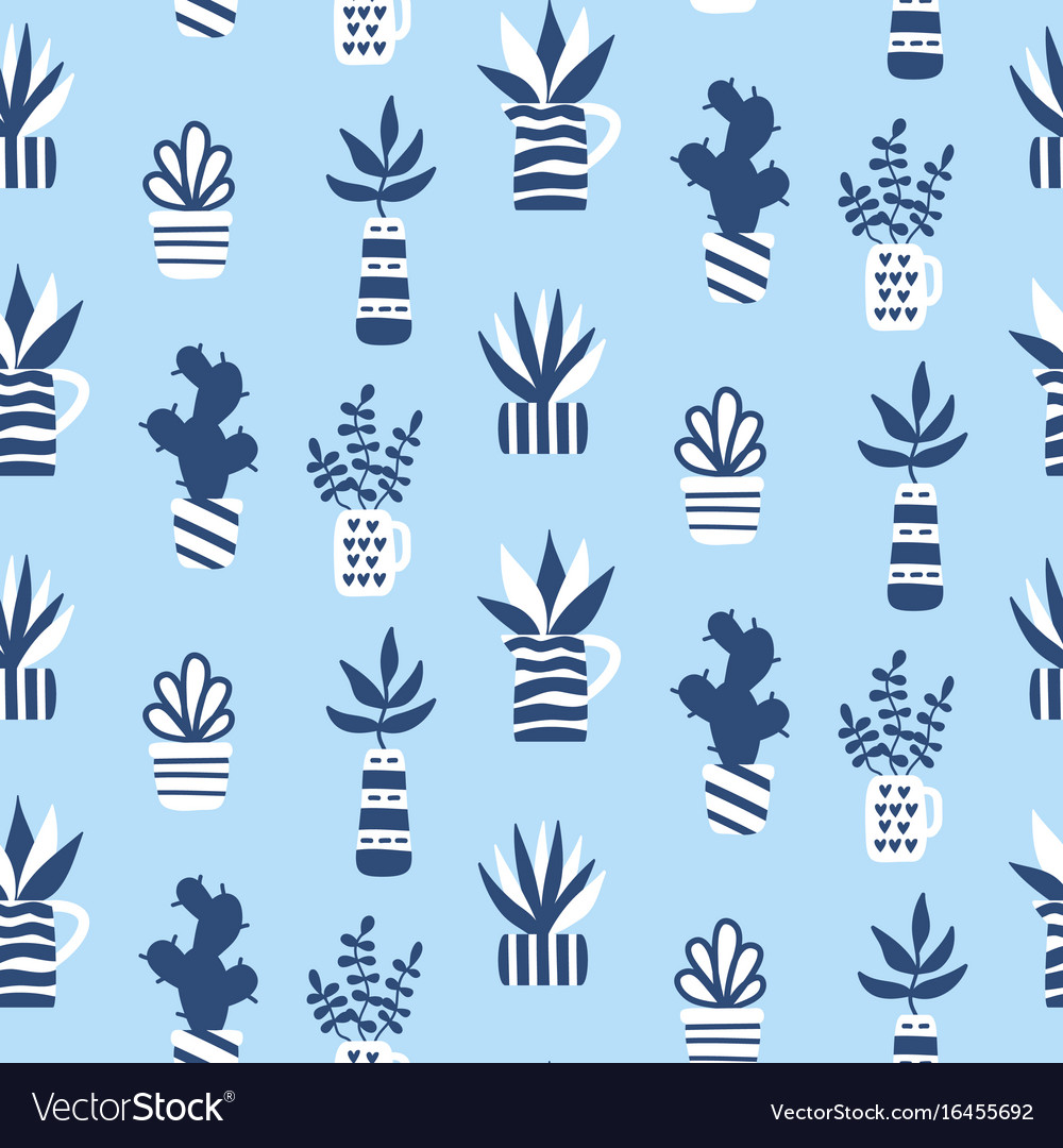 Seamless pattern with succulents in vase vector image