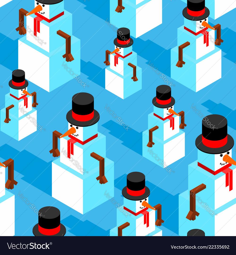 Snowman isometric pattern christmas background